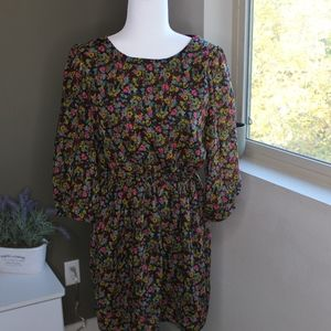Fall Colored Dark Floral Dress